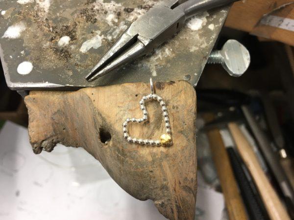 kugelherz gold silber handgemacht