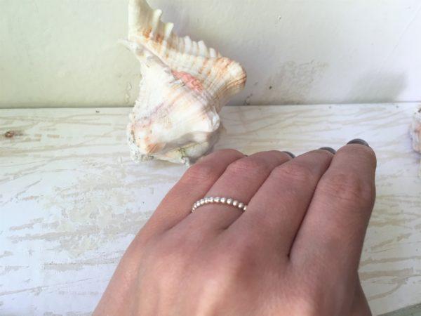 silber weissgold verlobungsring mit kügelchen